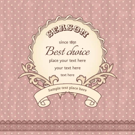 baroque border: Vintage background with damask pattern in retro style  Illustration