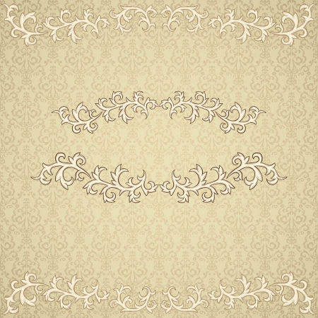 vintage frame on damask background  Vector