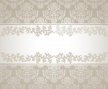 silver frame: vintage frame on damask background