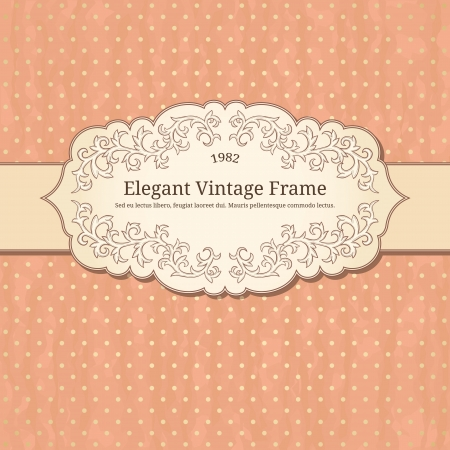 vintage frame on polka-dot background  Vector