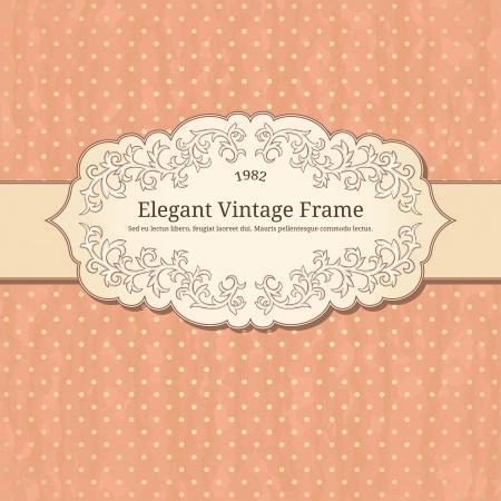 vintage background: vintage frame on polka-dot background