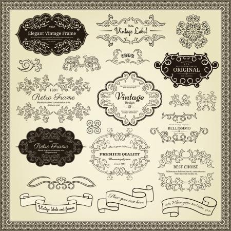 виньетка: Набор элементов дизайна этикетки, границы, рамки и т.д. Может быть использован для украшения страницы, сертификат и т.д.