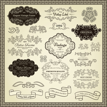 Set of design elements  labels, borders, frames, etc  Could be used for page decoration, certificate, etc  Stock Vector - 14269776