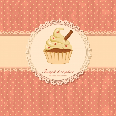 polka dots: Vintage background with cupcake and laces
