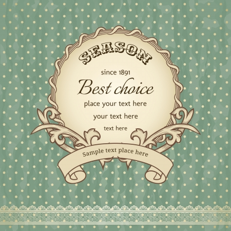 vintage frame on polka-dot background