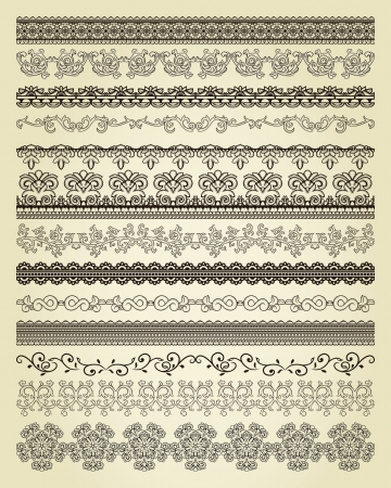 page border: Set of vintage lines on beige background