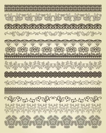 dividing: Set of vintage lines on beige background