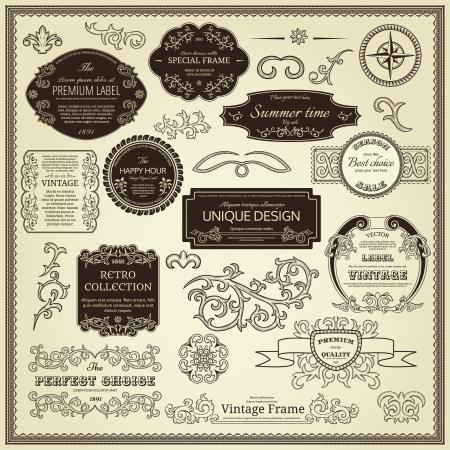 bordure de page: Jeu d'�tiquettes des �l�ments de conception, les bordures, cadres, etc Peut �tre utilis� pour la d�coration page, certificat, etc