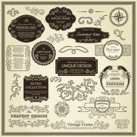 vintage document: Set of design elements  labels, borders, frames, etc  Could be used for page decoration, certificate, etc