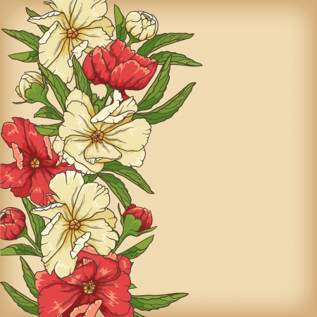 Floral background with rose and butterflies