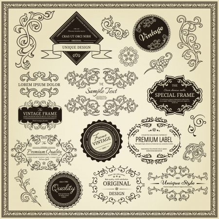 typographic: Set of design elements  labels, borders, frames, etc  Could be used for page decoration, certificate, etc