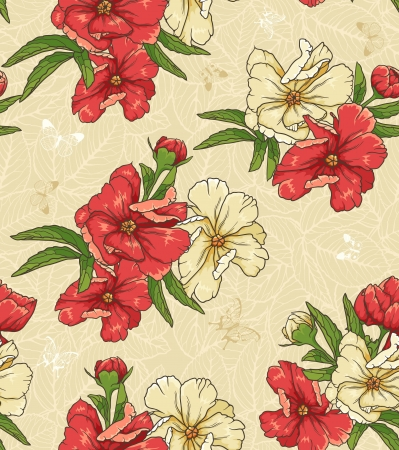 textile image: floral seamless patern with hand drawn flowers