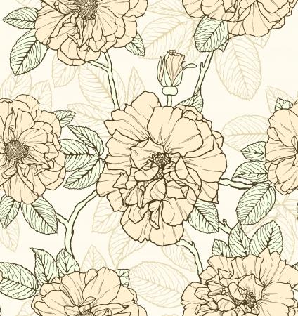 Bloemen naadloos patroon met rozen en vlinders Stock Illustratie