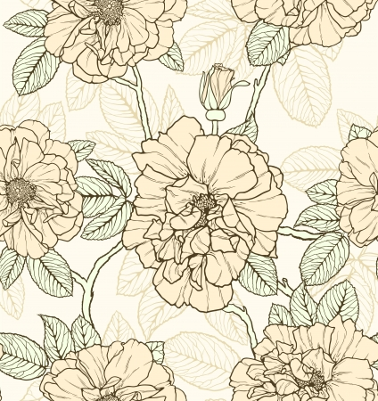 textiles: Floral seamless pattern with roses and butterflies