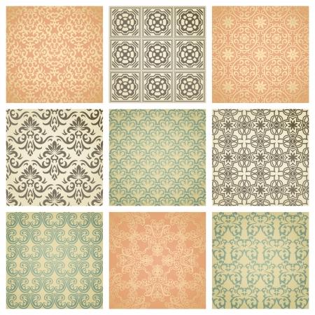 vendimia: Conjunto de nueve patrón transparente en estilo retro