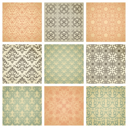 Set of nine seamless pattern in retro style Illustration