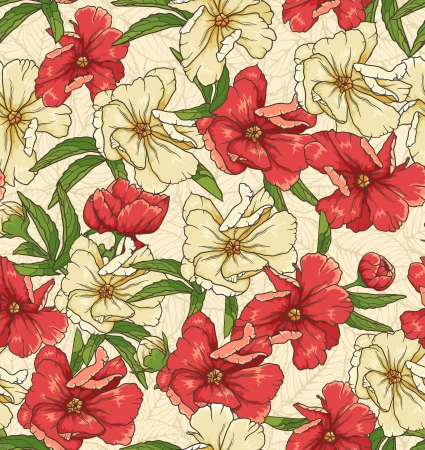 textile image: floral seamless pattern with hand drawn flowers
