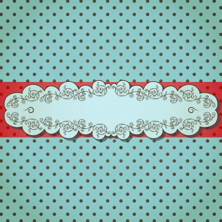 Vintage background with ornamental frame on dotted pattern  Vector
