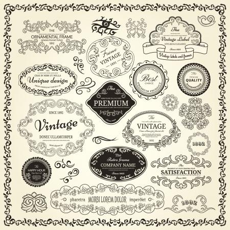 Conjunto de elementos de diseño etiquetas, bordes, marcos, etc Podría ser utilizado para la decoración de página, certificado, etc Foto de archivo - 14661890
