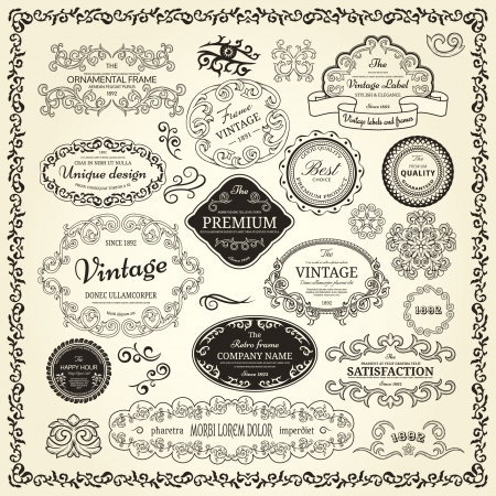 Set of design elements  labels, borders, frames, etc  Could be used for page decoration, certificate, etc Vector