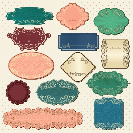 Set of vintage frames, labels and note messages Vector