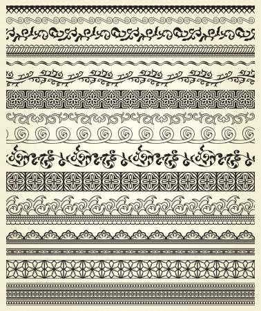 bordes decorativos: Conjunto de líneas de la vendimia en fondo beige