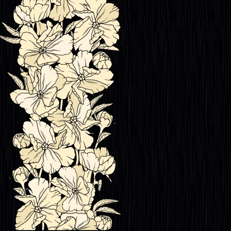 black swirls: Floral background with hand drawn flowers