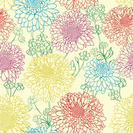 floral seamless patern with hand drawn flowers