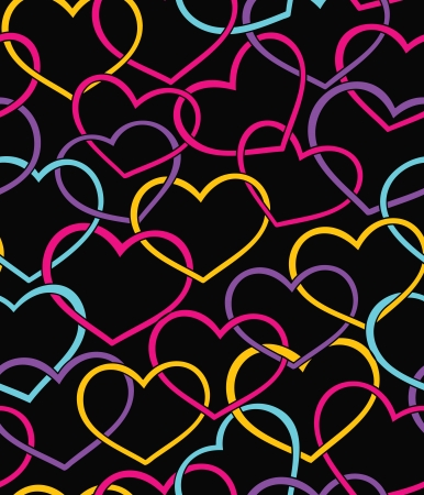 neon color: Valentine seamless pattern with color hearts