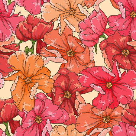 beige: floral seamless pattern with hand drawn flowers