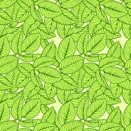 Seamless pattern with green leafs Vector