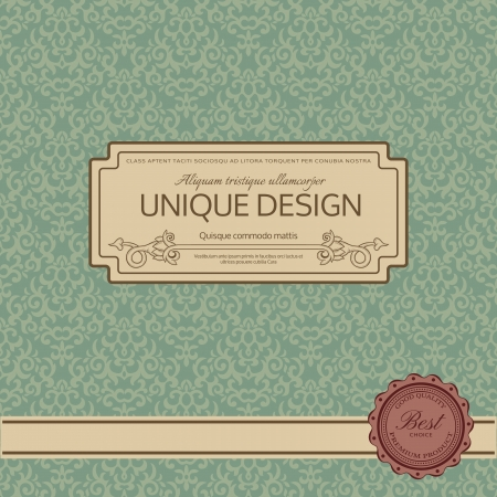 decorative border: Vintage background with damask pattern
