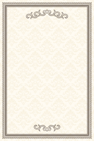 Vintage frame with retro seamless pattern  Illustration