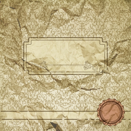 Vintage frame on damask background and grunge texture  Illustration