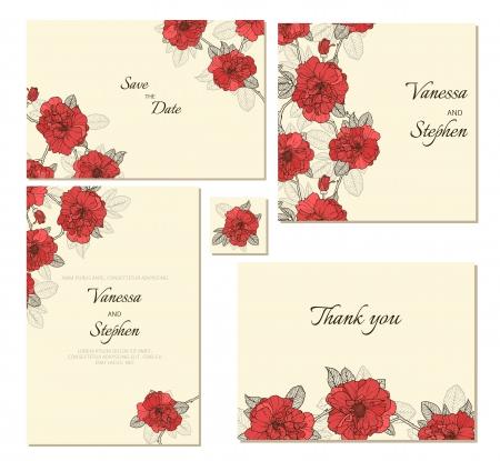 merci: Ensemble de cadres floraux. Perfectionnez pour �pouser l'invitation, save the date et merci messages Illustration