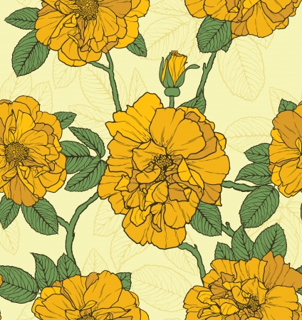 Floral seamless pattern with yellow roses Vector