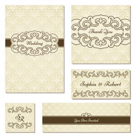 arabesque wallpaper: Set di frame vintage nello stesso stile  Perfetto per invito di nozze, grazie e dei Biglietti Promemoria, ecc Vettoriali