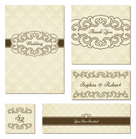 Set of vintage frame in the same style/ Perfect for wedding invitation, thank you and save the date cards, etc Vettoriali
