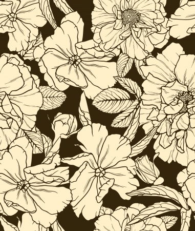Floral seamless pattern on dark background  Stock Vector - 14966245
