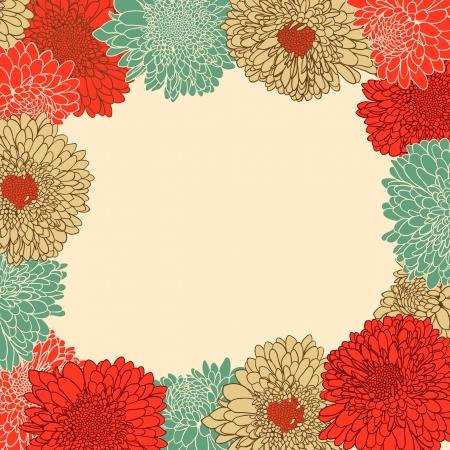 손으로 그린 꽃과 함께 꽃 프레임 일러스트