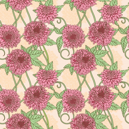 Floral seamless pattern with pink peony  Vector