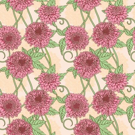 dalia: Patrón floral sin fisuras con rosa peonía