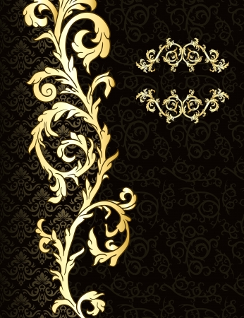 baroque border: Vintage background with damask pattern