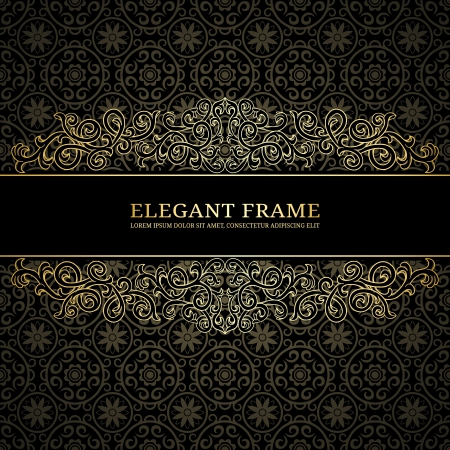 luxury template: Vintage background with damask pattern