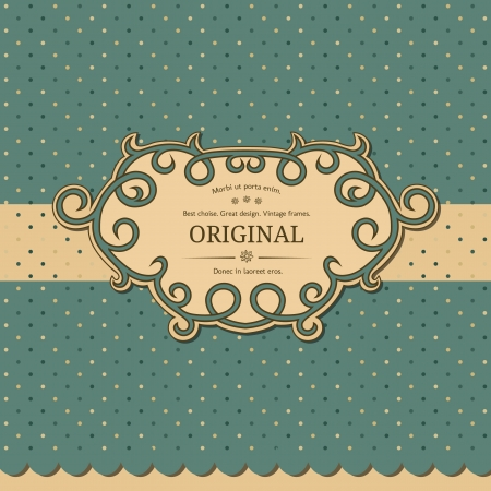 Elegant vintage frame with polka dot background