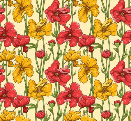 Floral seamless pattern with hand drawn flowers Stock Vector - 15047286