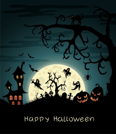 Happy Halloween greeting vard with gosts, graves, bats, pumplins, etc   Stock Vector - 15047277