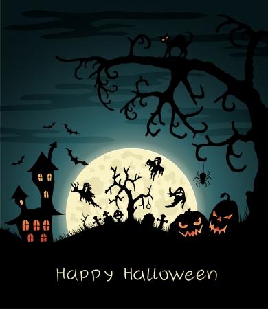 horror castle: Happy Halloween greeting vard with gosts, graves, bats, pumplins, etc