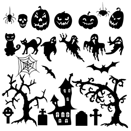 spiderweb: Set of halloween silhouette on white background