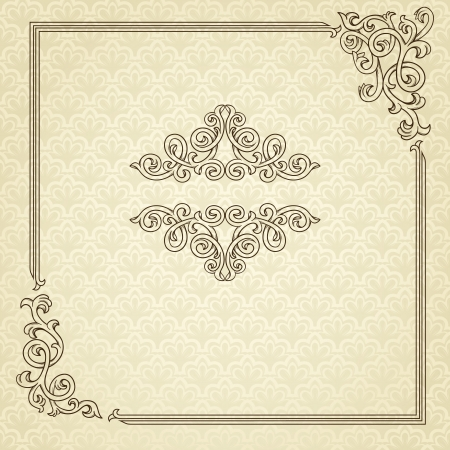 Vintage frame with retro seamless pattern  Illustration